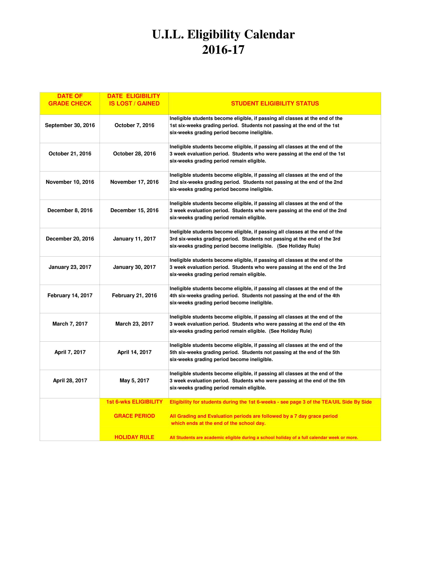 UIL Eligibility Calendar | Anderson High School Trojan Band